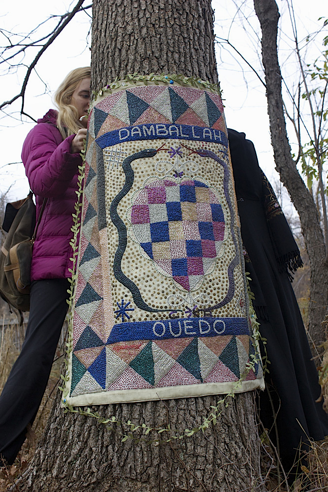 Ritual flag for Damballah Ouedo by Clotaire Bazile